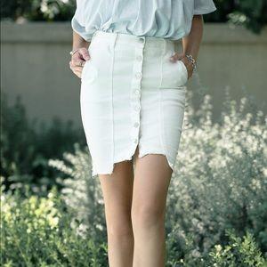 J.O.A. White Denim Button Down Skirt Slim Fit Jean